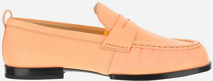 Peach Leather Women's Loafer Shoes - Tod's