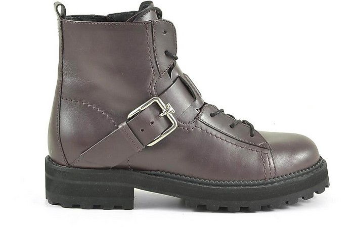 Bordeaux Leather Combat Boots - Tod's / トッズ