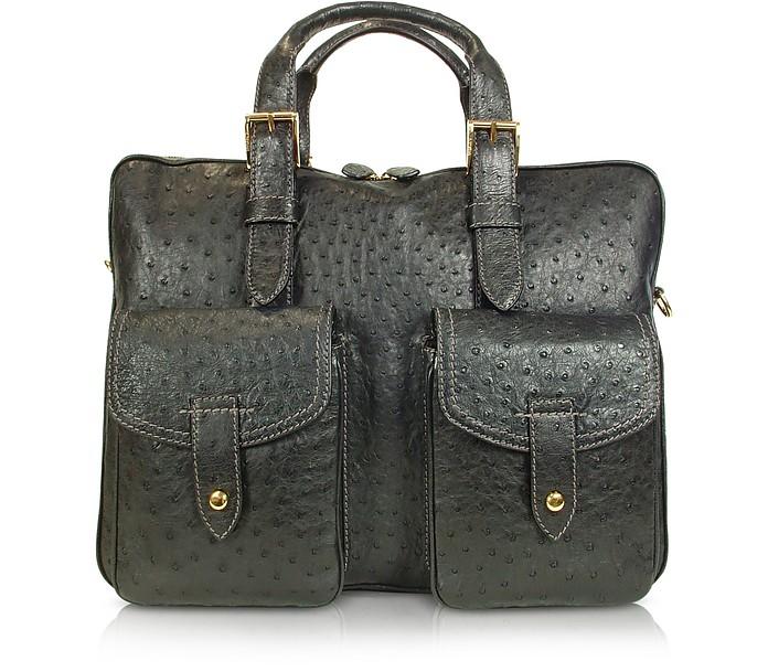Black Ostrich Double Handle Briefcase - A.Testoni