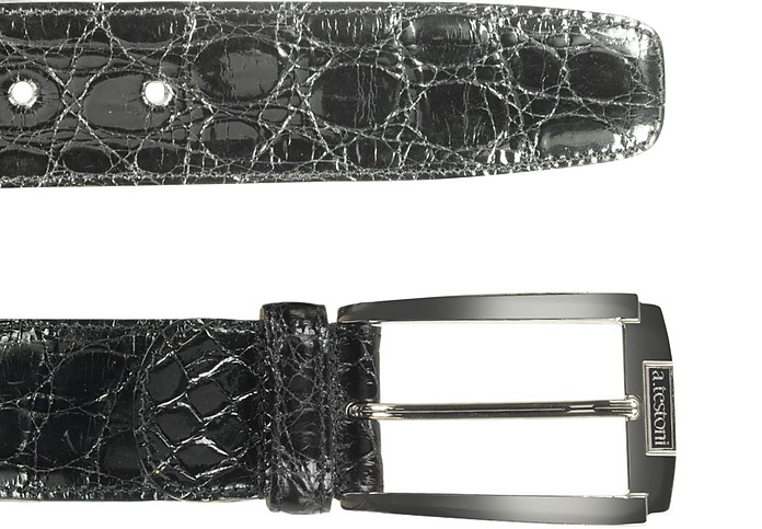 Men's Asphalt Gray Crocodile Belt - A. Testoni