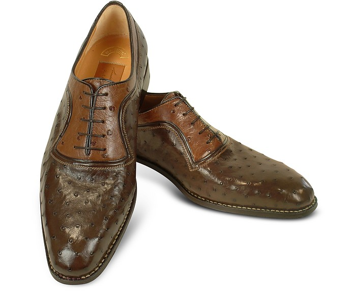 Forzieri Designer Shoes, Two-Tone Italian Handcrafted Leather Wingtip Oxford Shoes