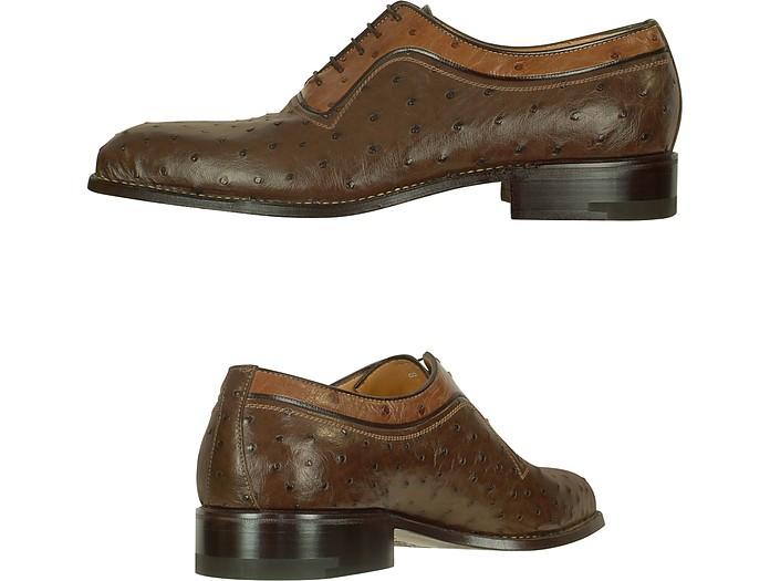 f5ae206a1ed47 Amedeo Testoni - Chaussures en cuir d autruche deux-tons A. Testoni ...