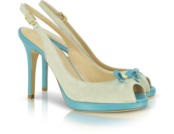 Beige and Light Blue Suede Peeptoe Slingback Shoe - A.Testoni