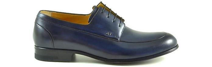 Blue Leather Men's Derby Shoes - A. Testoni / ア・テストーニ