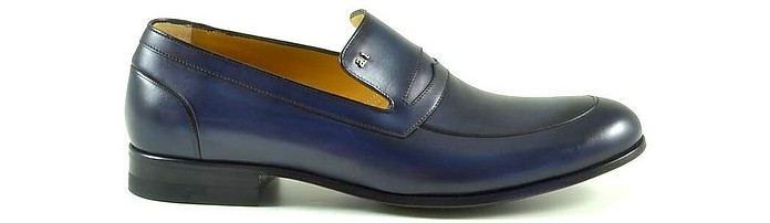 Blue Leather Loafer Shoes - A. Testoni / ア・テストーニ