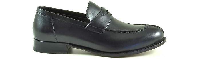 Black Leather Men's Loafer Shoes - A.Testoni