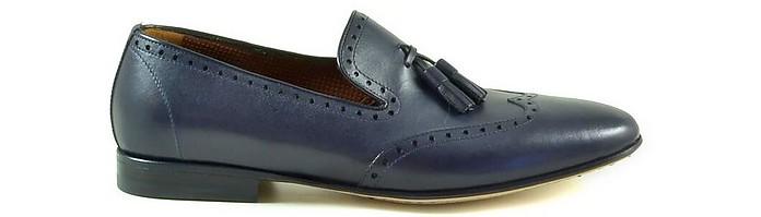 Blue Leather Men's Loafer Shoes w/Tassels - A. Testoni / ア・テストーニ