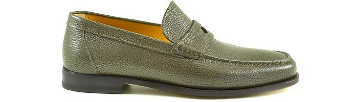 Olive Brown Grainy Leather Men's Loafer Shoes - A. Testoni / ア・テストーニ