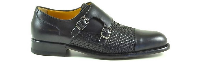 Black Woven Leather Men's Monk-Strap Shoes - A. Testoni / ア・テストーニ
