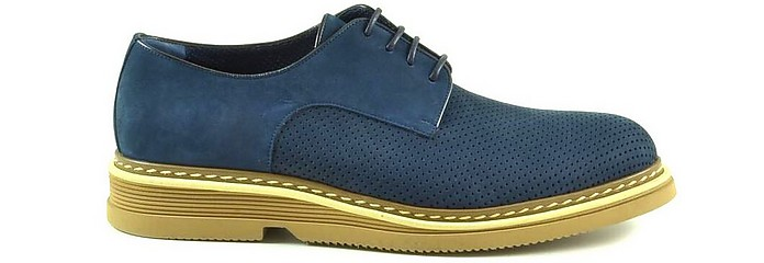 Blue Perforated Nabuk Derby Shoes - A.Testoni