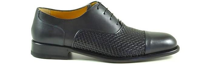 Black Woven Leather Men's Oxford Shoes - A. Testoni / ア・テストーニ