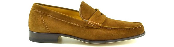 Brown Suede Men's Loafer Shoes - A.Testoni