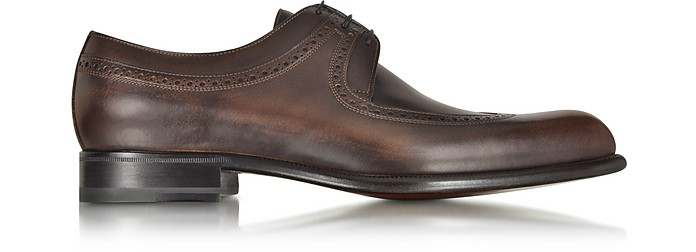 A. TESTONI Moro Washed Leather Derby Shoe in Brown
