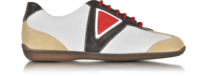 A.TESTONI MULTICOLOR LEATHER AND SUEDE SNEAKER