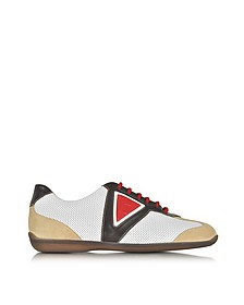 Multicolor Leather and Suede Sneaker - A.Testoni