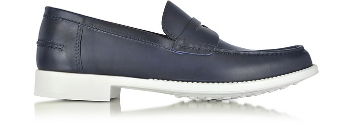 A.TESTONI NAVY LEATHER MOCCASIN SHOE