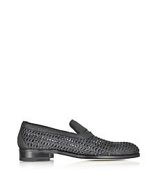 Black Woven Leather Slip-on Shoe - A.Testoni