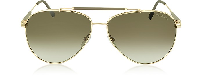 RICK FT0378 28J Gold Brown Metal Aviator Sunglasses - Tom Ford