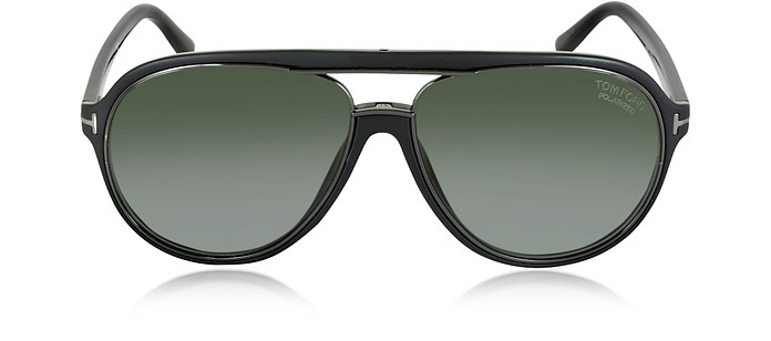a7a26665378 Tom Ford Black Polarized Green SERGIO FT0379 Aviator Sunglasses at ...