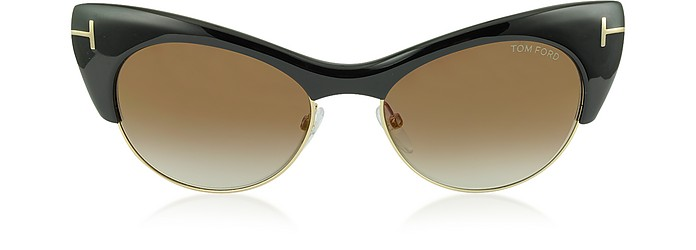 LOLA FT0387 01G Black Cat Eye Sunglasses - Tom Ford