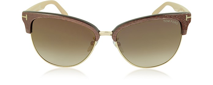 FANY FT0368 50G Brown Acetate and Gold Metal Cat Eye Sunglasses - Tom Ford