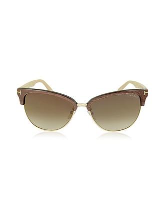 15c2ef738c FANY FT0368 50G Gafas de Sol de Acetato y Metal Marrón con Montura Estilo  Ojos de