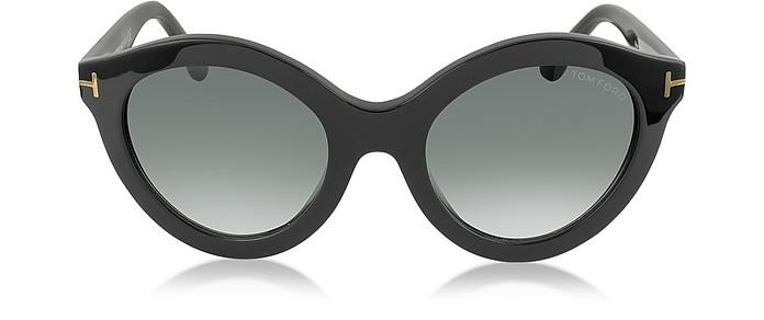 b9dc6233359d Tom Ford Black Shaded Black CHIARA FT0359 01B Black Round Sunglasses ...
