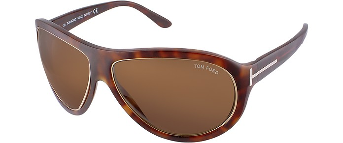 Angus - Metal Trim Logoed Temple Teacup Sunglasses, No Color