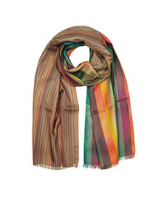 Multistripe Artist Clash Silk Men's Scarf - Paul Smith