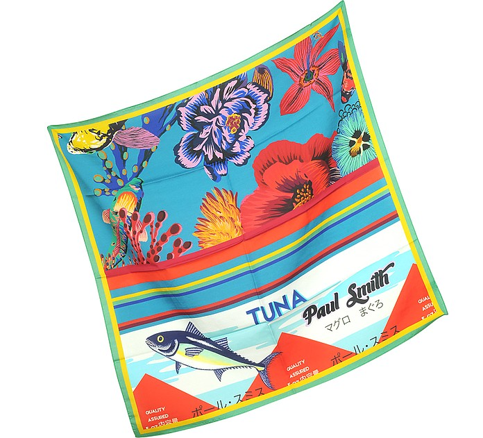 Blue Hawaiian Floral and Ocean Print Men's Square Scarf - Paul Smith