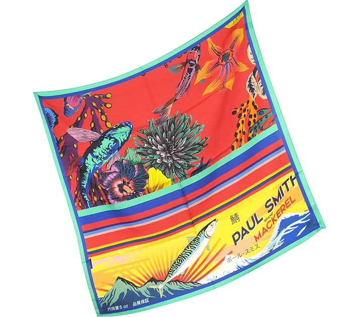 Paul Smith  RED HAWAIIAN FLORAL AND OCEAN PRINT MEN'S SQUARE SCARF
