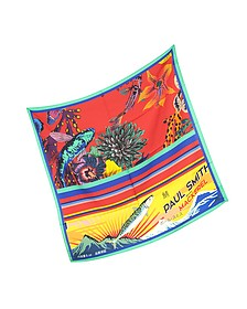 Red Hawaiian Floral and Ocean Print Men's Square Scarf - Paul Smith