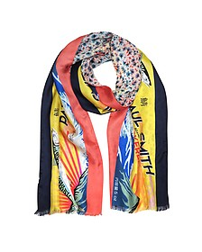 Yellow Mackerel Print Silk Blend Reversible Men's Tubular Scarf - Paul Smith