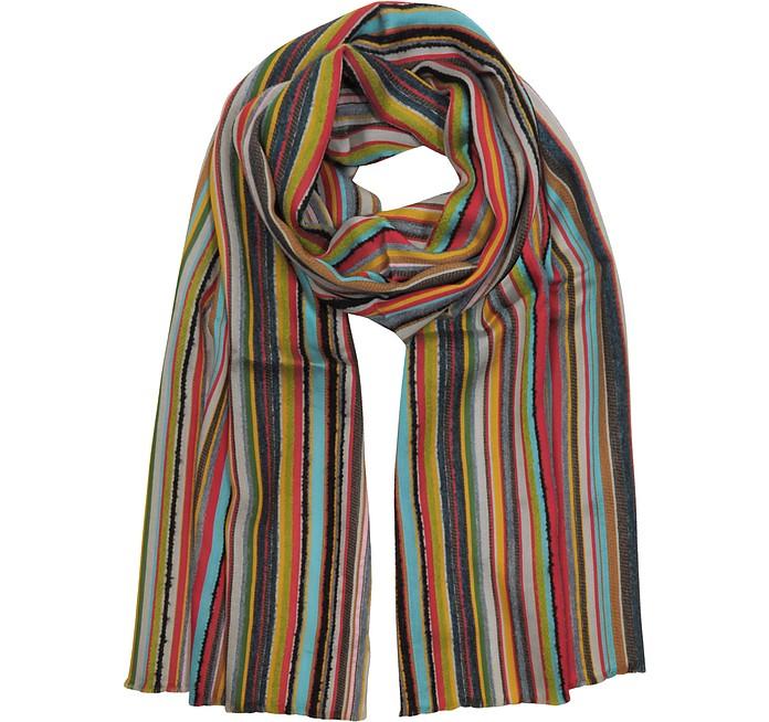 Wool Blend Stripe Men's Long Scarf - Paul Smith