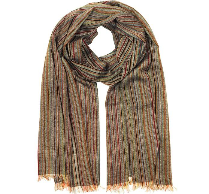 Signature Stripe Mercerized Wool Men's Scarf - Paul Smith