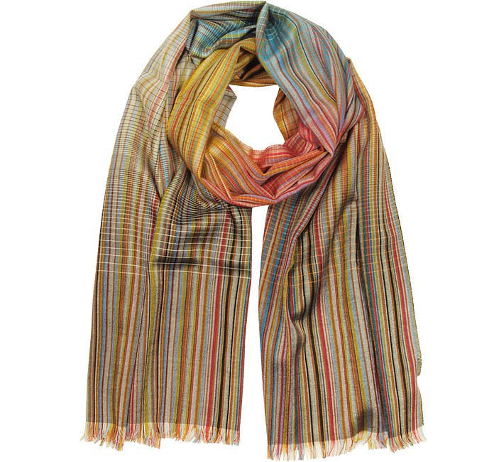 Signature Stripe Wool & Silk Men's Scarf - Paul Smith