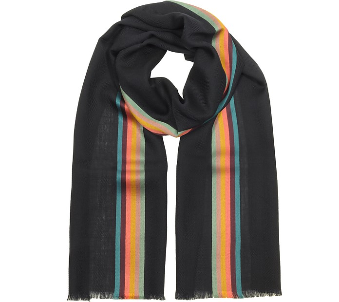 Navy Blue Artist Stripe Band Herringbone Wool-Blend Men's Scarf  - Paul Smith