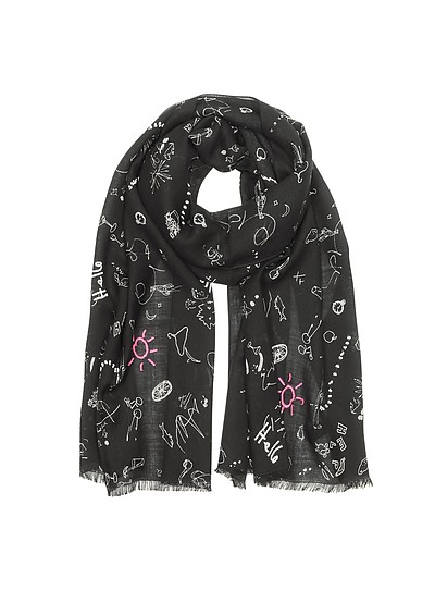 Black Wool Sketchbook Men's Scarf - Paul Smith