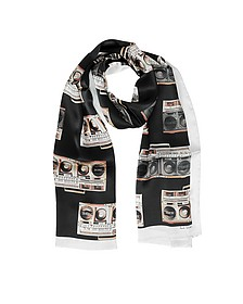 Black Silk Boom Box Print Silk Men's Scarf - Paul Smith