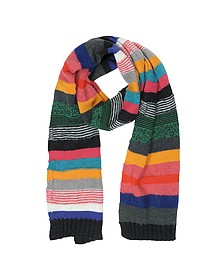 Multicolor Stripe Mohair Wool Men's Scarf - Paul Smith