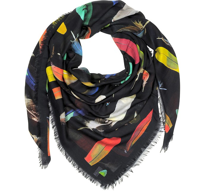 Feather Printed Modal, Silk and Cashmere Men's Wrap - Paul Smith