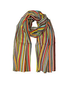 Signature Stripe Textured Wool-Silk Men's Scarf - Paul Smith