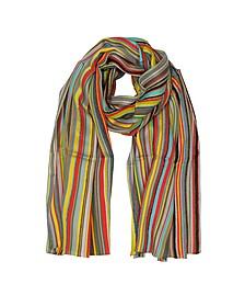 Herren-Schal aus Wolle und Seide mit Streifen und Logo - Paul Smith