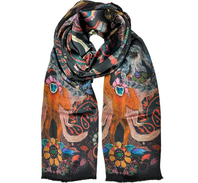 Monkey Printed Silk Men's Wrap - Paul Smith