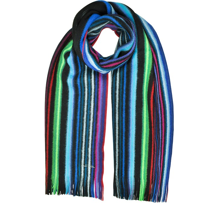 Neon Stripe Merino Wool Men's Scarf  - Paul Smith