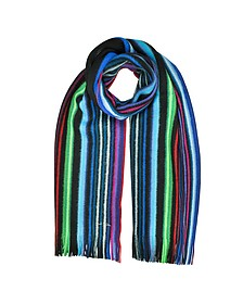 Neon Stripe Merino Wool Men's Scarf  - Paul Smith