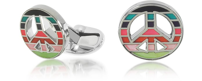 Men's Striped Peace Cufflinks - Paul Smith