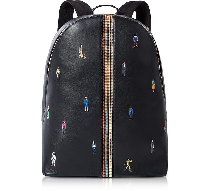 Men's Navy Blue Leather Signature Stripe and People Backpack - Paul Smith