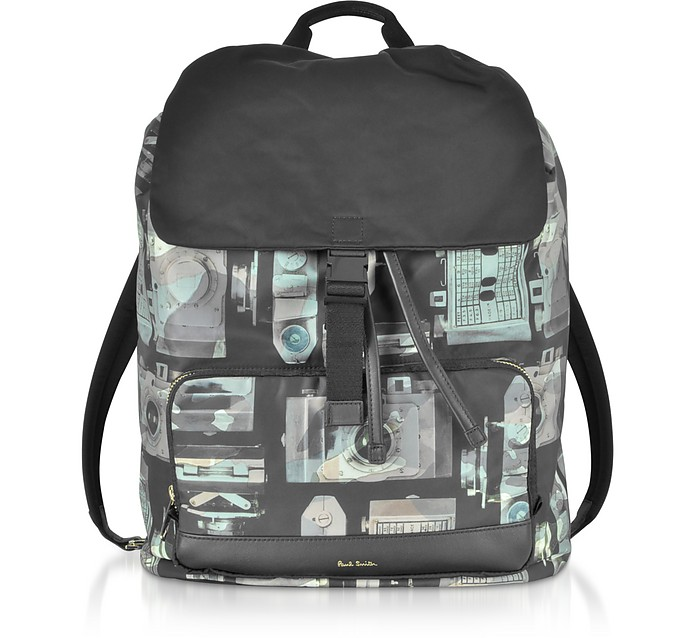 Camouflage Paul's Camera Print Flap Men's Backpack - Paul Smith