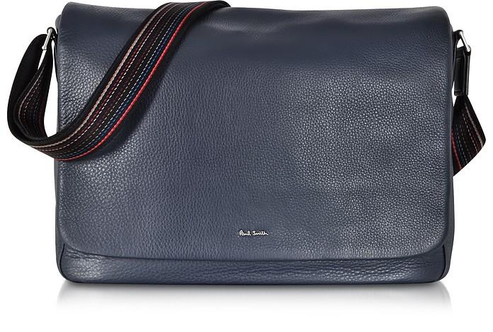 4f4567ae8da9 Navy Blue Leather City Webbing Men's Messenger Bag